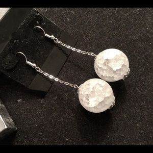 Sterling Silver Plated Frosted Sphere Earrings